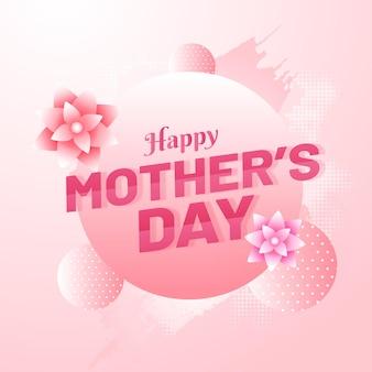 Gelukkige moederdag tekst met bloemen en ballen of bol versierd op glanzende roze achtergrond.
