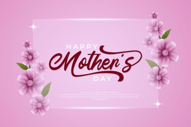 Gelukkige moederdag vierkante glazen achtergrond met bloemen aan de rechterkant en linker illustraties in roze.