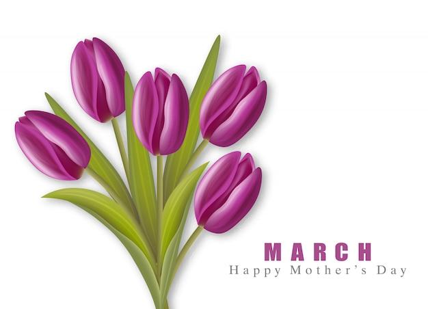 Gelukkige moederdag violette tulpen realistisch. 8 maart