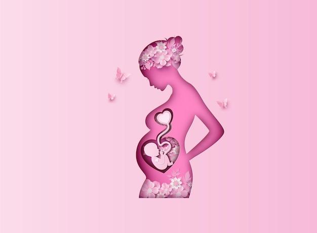 Gelukkige moederdag wenskaart met moeder en baby. papier knippen