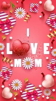 Gelukkige moederdag wenskaart met prachtige bloemen, hartvorm en geschenkdoos