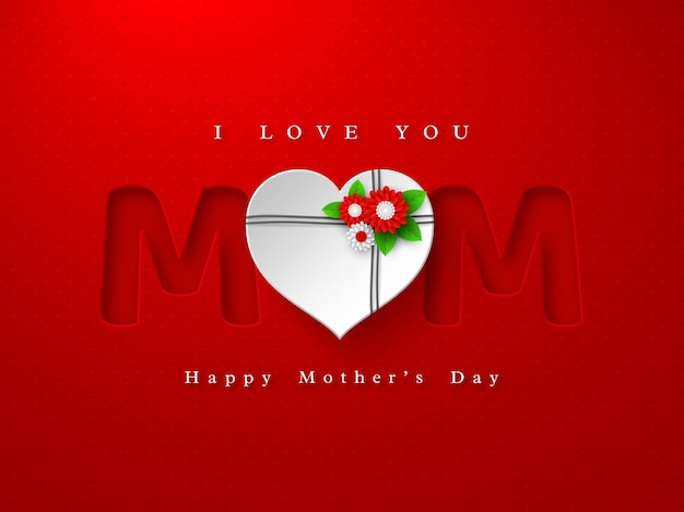 Gelukkige moederdag wenskaart. word mom in papieren ambachtelijke stijl met 3d-hart versierd bloemen op rood gevlekt