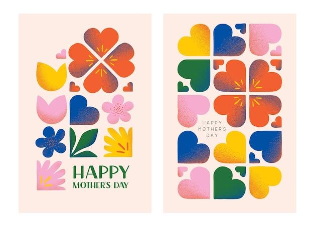 Gelukkige moederdag wenskaarten moederdag wenskaarten met getextureerde bloemenelementen en horen