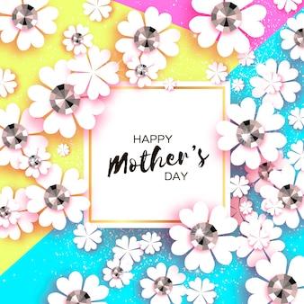 Gelukkige moederdag. witte bloemen wenskaart met briljante stenen. papieren snijbloem.