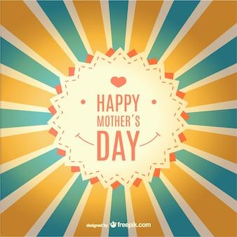 Gelukkige moederdag zonnestraal retro kaart