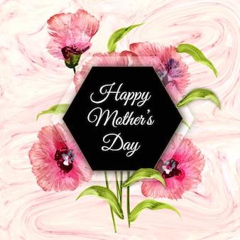 Gelukkige moederdagachtergrond met bloemen en marmeren textuur