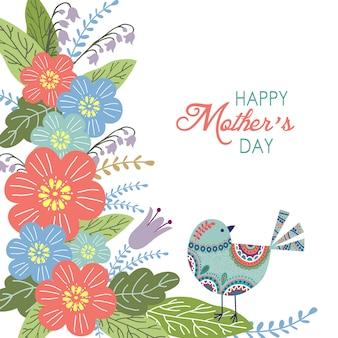 Gelukkige moederdagachtergrond met bloemen