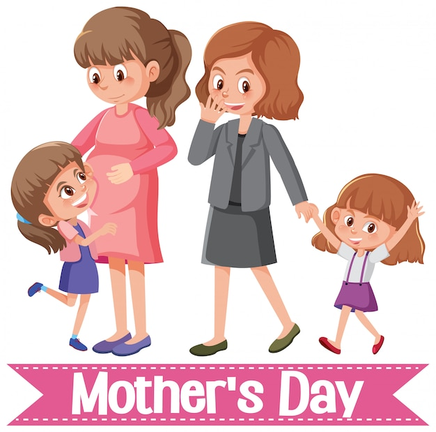 Gelukkige moederdaggroet met moeders en dochters