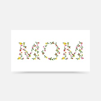 Gelukkige moederdaggroetkaart met typografiedecoratie en mooie bloem