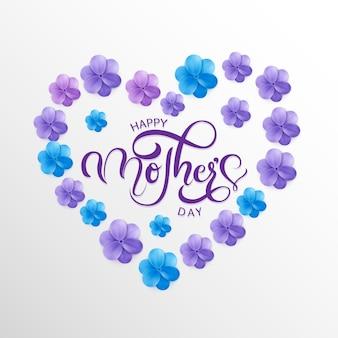 Gelukkige moederdaggroetkaart met typografieontwerp en bloesembloem