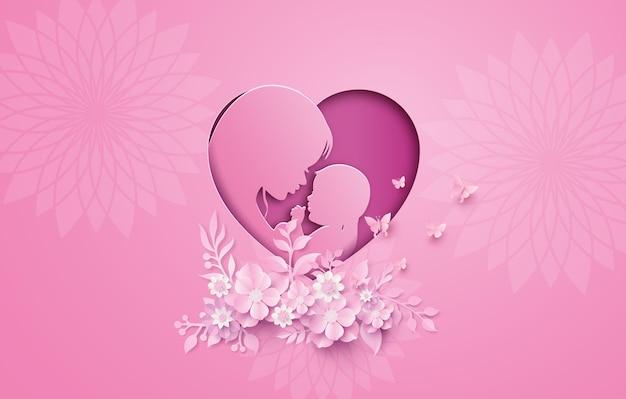 Gelukkige moederdaggroetkaart met zwangere vrouw. papier knippen, papiercollagestijl met digitaal vaartuig.