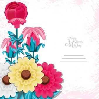 Gelukkige moederdagkaart met bloemen