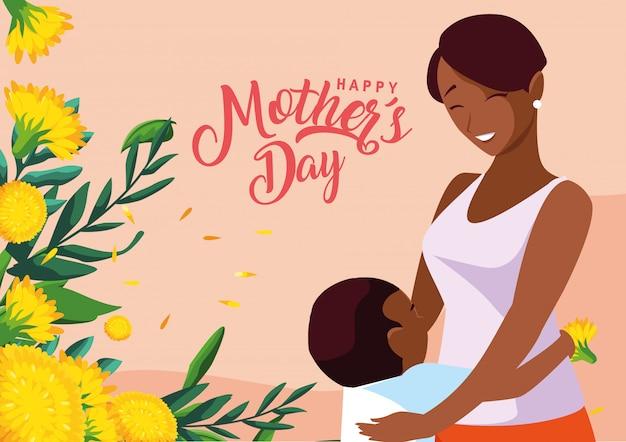 Gelukkige moederdagkaart met mammazwarte en zoon