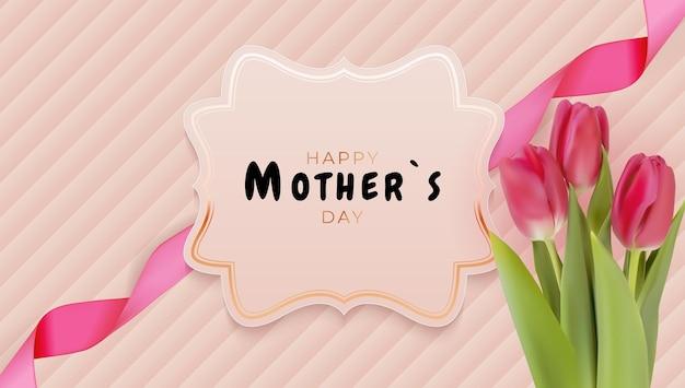 Gelukkige moederdagkaart met realistische tulpbloemen.