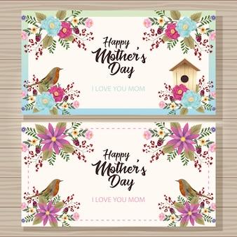 Gelukkige moederdagkaart met vogel en huisvogel bloemenframe