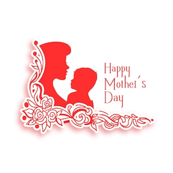 Gelukkige moeders dag achtergrond met moeder en kind silhouet