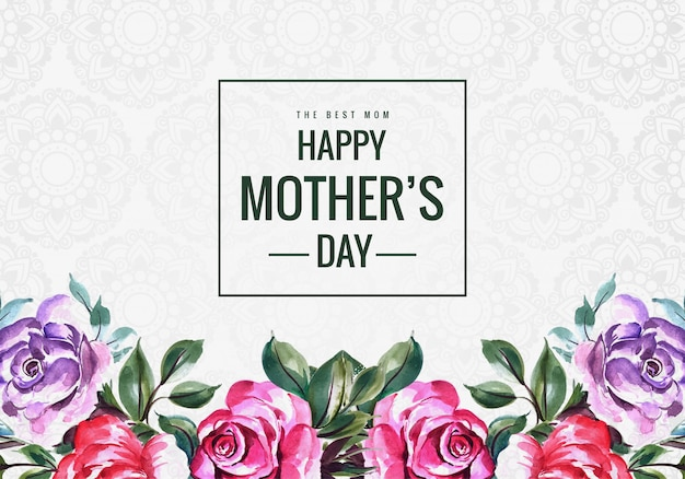 Gelukkige moeders dag bloem frame kaart achtergrond