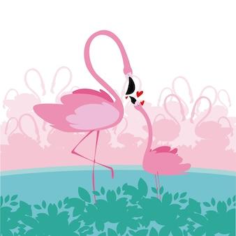 Gelukkige moeders dag flamingo cartoon