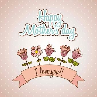 Gelukkige moeders dag kaart met bloemen vector illustratie