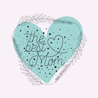 Gelukkige moeders dag kaart met kruiden hart frame