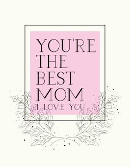 Gelukkige moeders dag kaart met kruiden vierkante frame