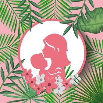 Gelukkige moeders dag kaart met moeder en zoon silhouet