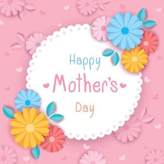 Gelukkige moeders dag roze bloemen