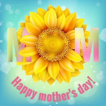 Gelukkige moeders typografisch met zonnebloem.