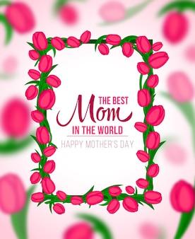 Gelukkige moeders typografische achtergrond met frame van lente tulpen bloemen
