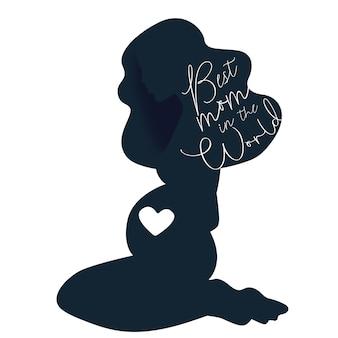 Gelukkige moedersdag zwangere dame silhouette