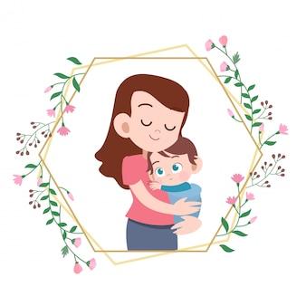 Gelukkige moedersdagkaart die vectorillustratie begroeten