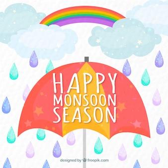 Gelukkige moesson paraplu achtergrond met druppels en regenboog