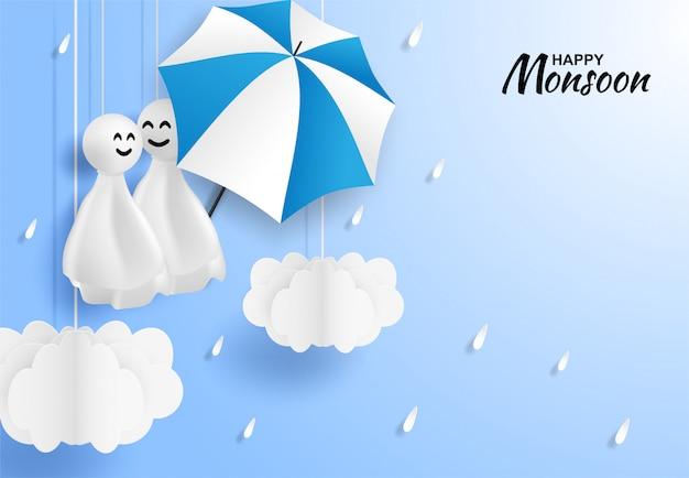 Gelukkige moesson, regenachtige seizoen achtergrond
