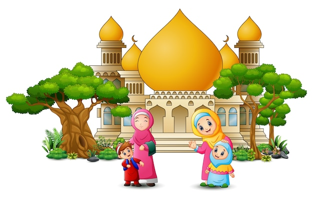 Gelukkige moslim kids cartoon voor een moskee