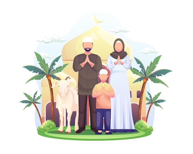 Gelukkige moslimfamilie viert eid al adha mubarak-illustratieak