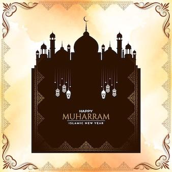 Gelukkige muharram en islamitische nieuwjaarsachtergrond met moskeevector