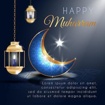 Gelukkige muharram-groet met realistische lantaarn en elegante toenemende maan