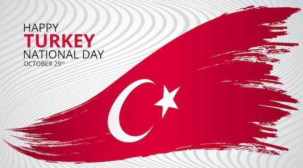 Gelukkige nationale dag van turkije achtergrond met grunge wapperende vlag