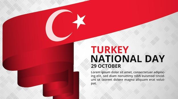 Gelukkige nationale dag van turkije achtergrond met lange wapperende vlag Premium Vector