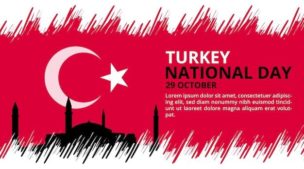 Gelukkige nationale dag van turkije achtergrond met vlag schilderij en landmark illustratie