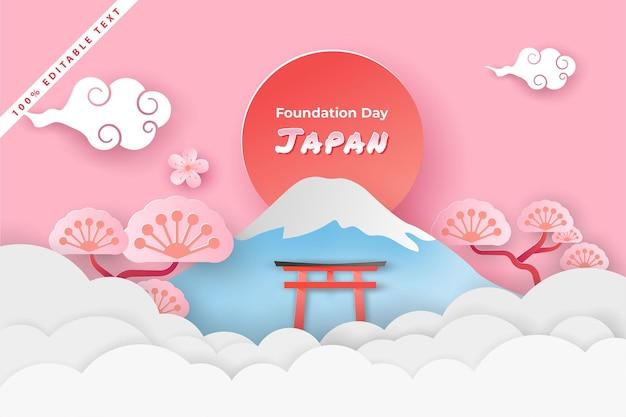 Gelukkige nationale stichtingsdag japan in papier gesneden kunststijl met bewerkbaar teksteffect