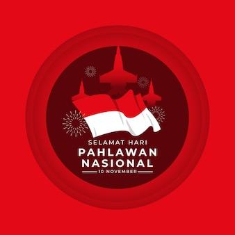 Gelukkige nationale veteranendag-sjabloon voor spandoek indonesië zwaaiende vlag