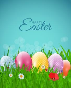 Gelukkige natuurlijke pasen met eieren, gras, bloem