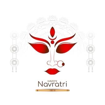 Gelukkige navratri-festivalachtergrond met maa durga-gezichtsontwerpvector