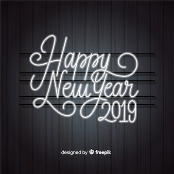 Gelukkige nieuwe jaar 2019 achtergrond met neonlichten het van letters voorzien