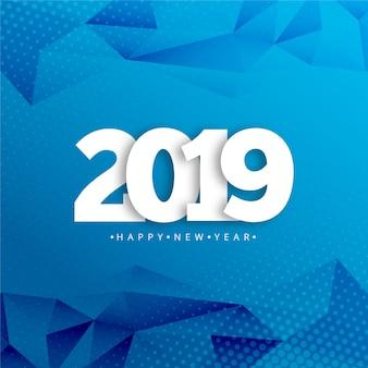 Gelukkige nieuwe jaar 2019 typografie met creatieve ontwerpvector