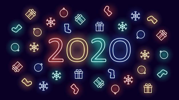 Gelukkige nieuwe jaar 2020 achtergrond in neonlichten met ornamenten