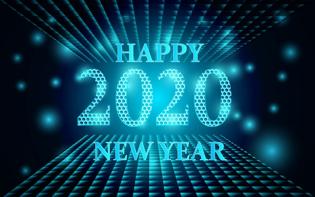Gelukkige nieuwe jaar 2020 achtergrond met gloeiende vormen