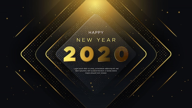 Gelukkige nieuwe jaarachtergrond, met fancy ontwerp en 3d
