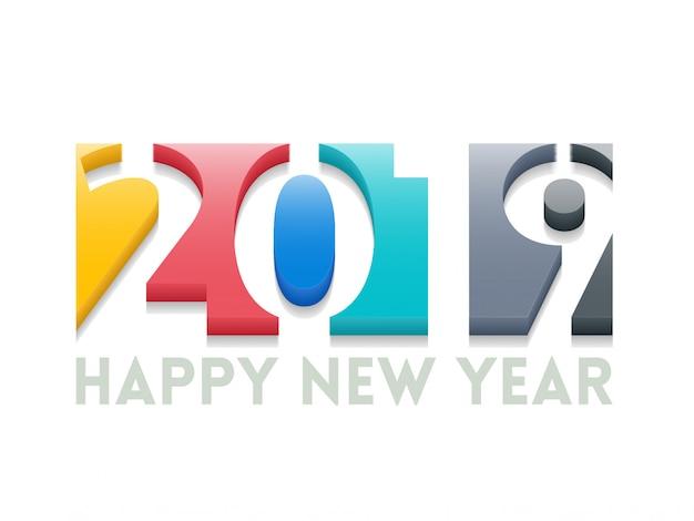 Gelukkige nieuwe jaargroetillustratie met gekleurde 2019 aantallen.